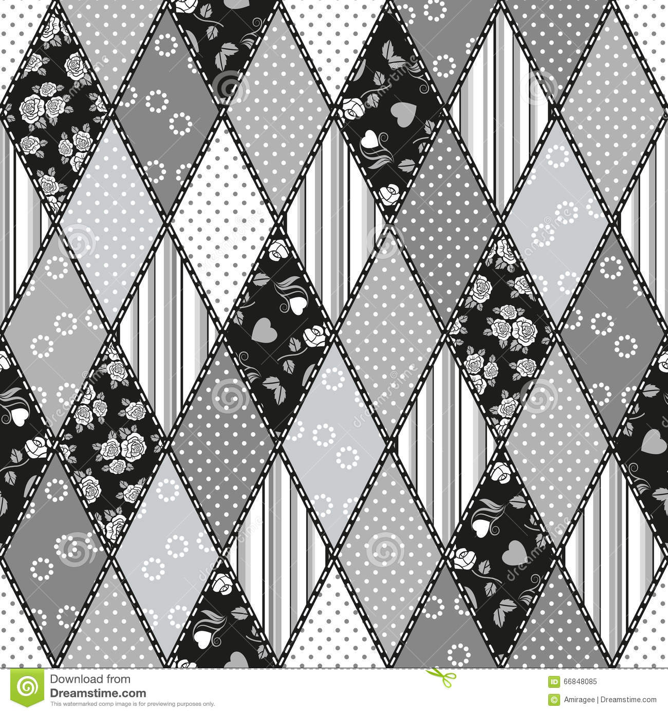 Vector abstract seamless patchwork pattern