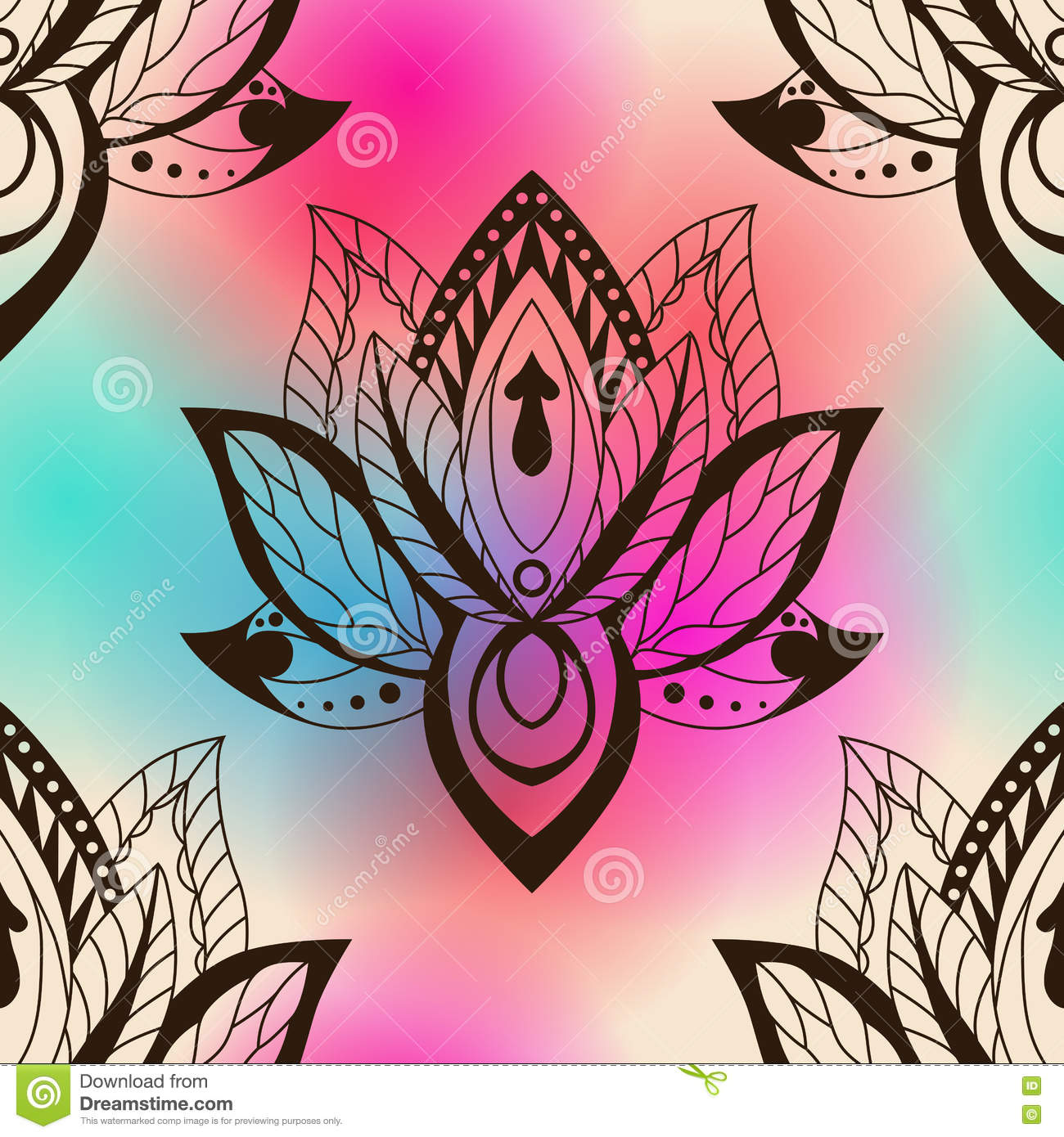 Lotus Flower Design Wall Paper : Vector abstract seamless pattern with lotus flowers