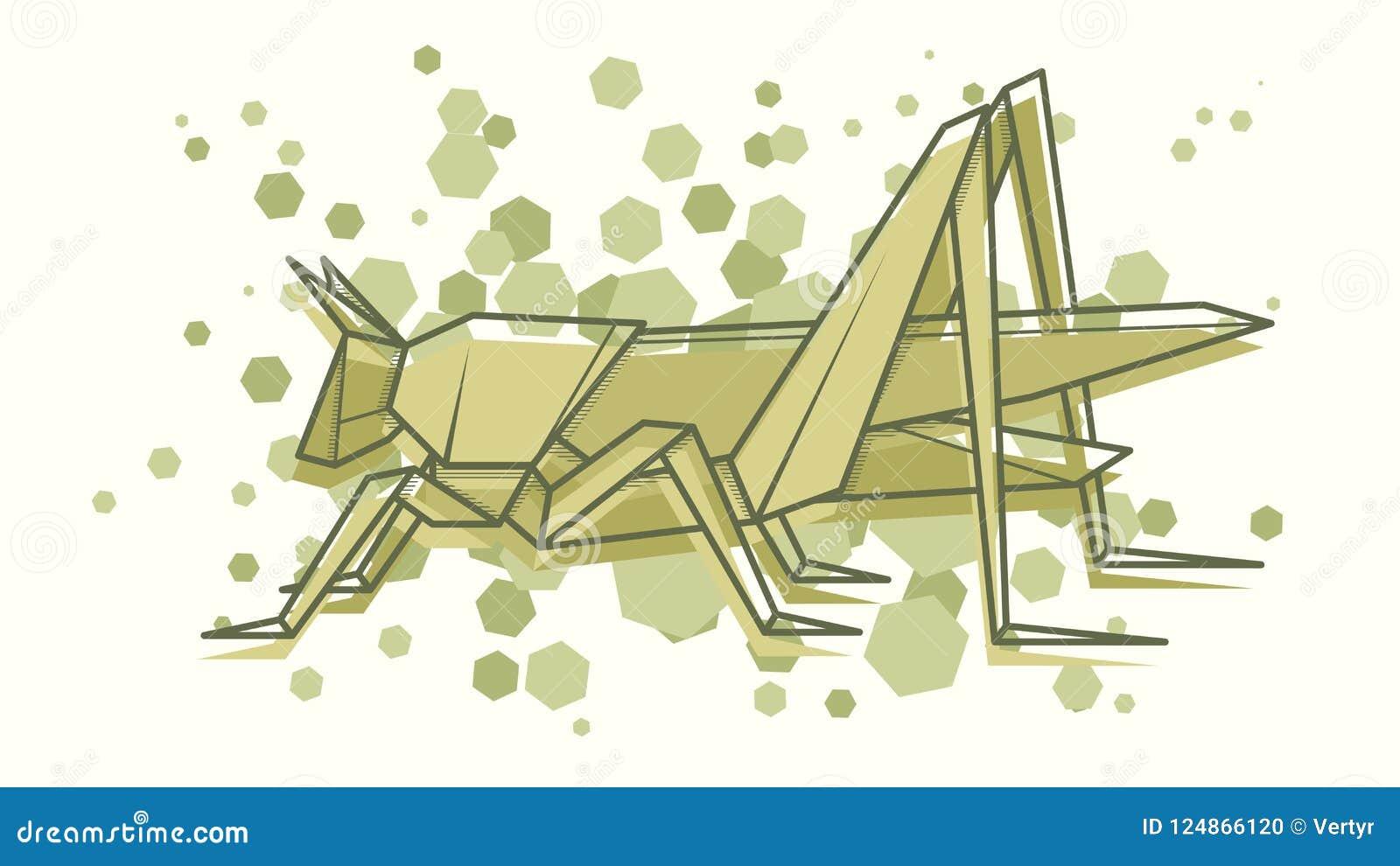 Origami Grasshopper Stock Illustrations – 29 Origami Grasshopper ... | 821x1300