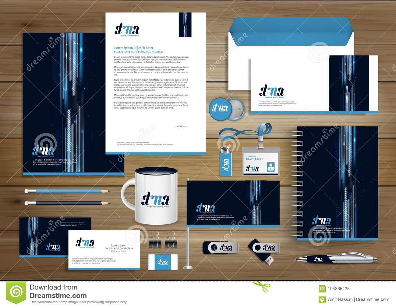Vector abstract stationery Editable corporate identity template design, Gift Items business Color promotional souvenirs elements.