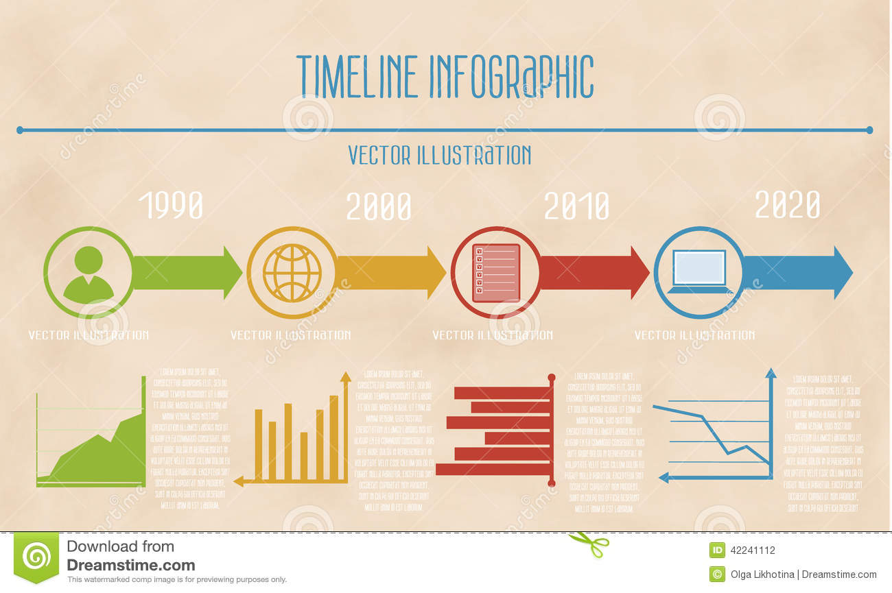vector abstract timeline infographic on vintage background  stock    vector abstract timeline infographic on vintage background