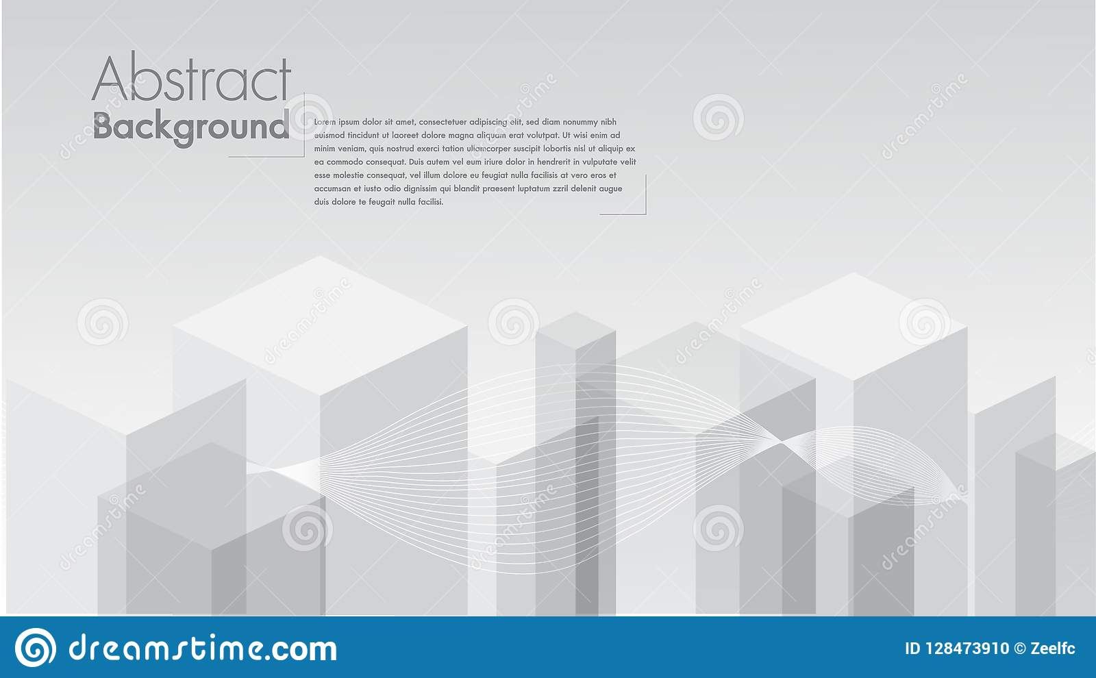 Vector Abstract white background geometric shape from gray cubes. White squares space for text edit