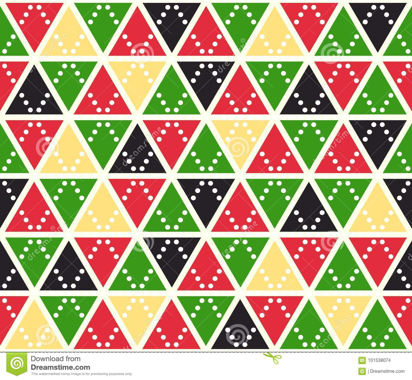Vector abstracte achtergrond, naadloos patroon De driehoekentextuur van Kerstmiskleuren Rood groen geel geometrisch mozaïek