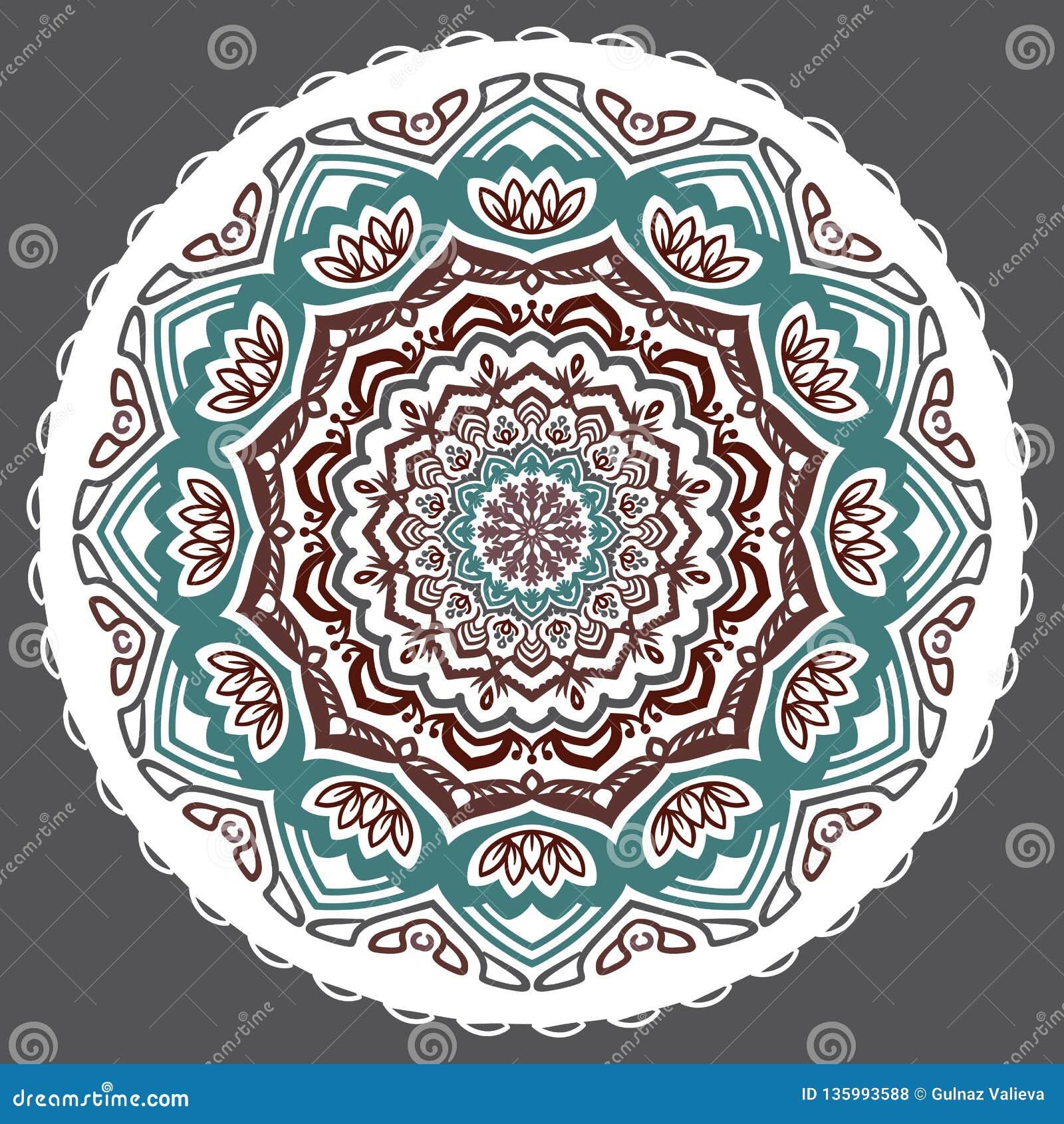 Vector abstracte bloemen twaalf-gerichte mandala op een grijze achtergrond
