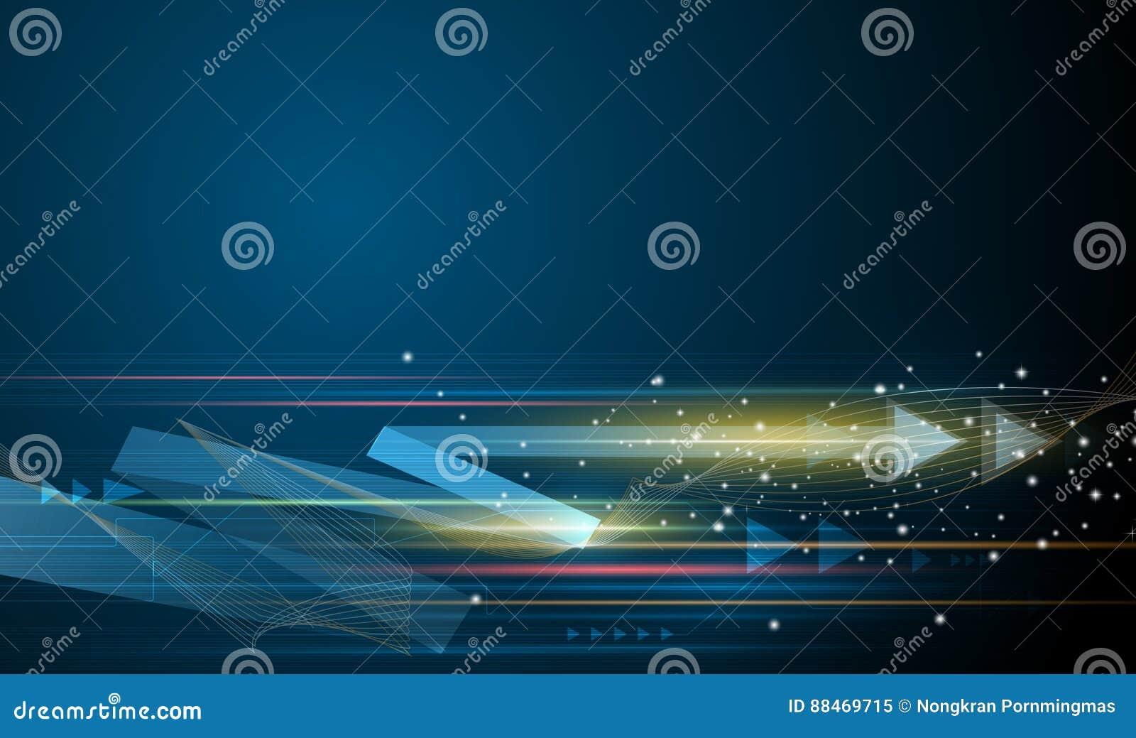Vector Abstracte futuristisch, snelheids en motieonduidelijk beeld over donkerblauwe achtergrond