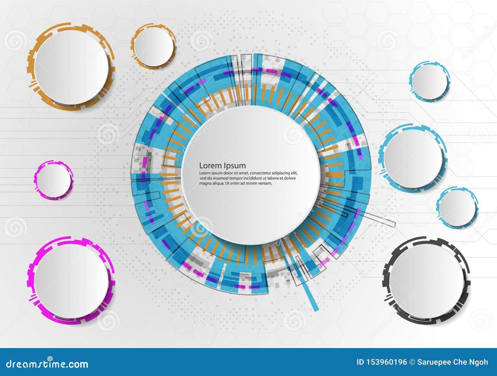 Vector Abstracte futuristische kringsraad op lichtgrijze achtergrond, hi-tech digitaal technologieconcept Lege witte 3d document