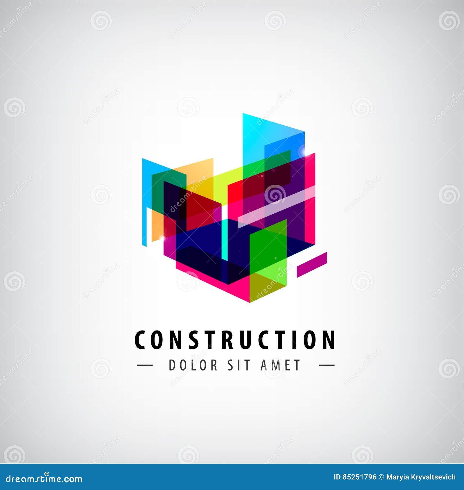 Vector abstracte geometrische bouw, structuurembleem Kleurrijke 3d architectuur