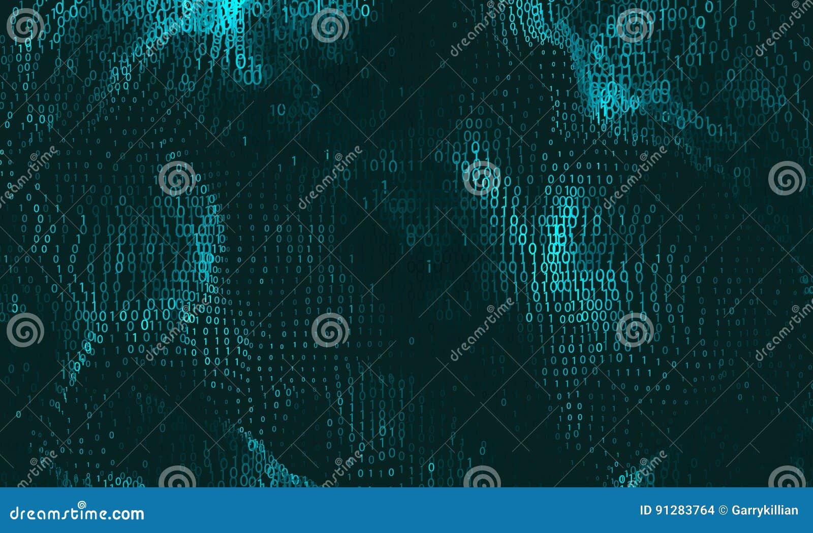 Vector abstracte grote gegevensvisualisatie Cyaan het gloeien gegevensstroom als binaire aantallen De vertegenwoordiging van de c