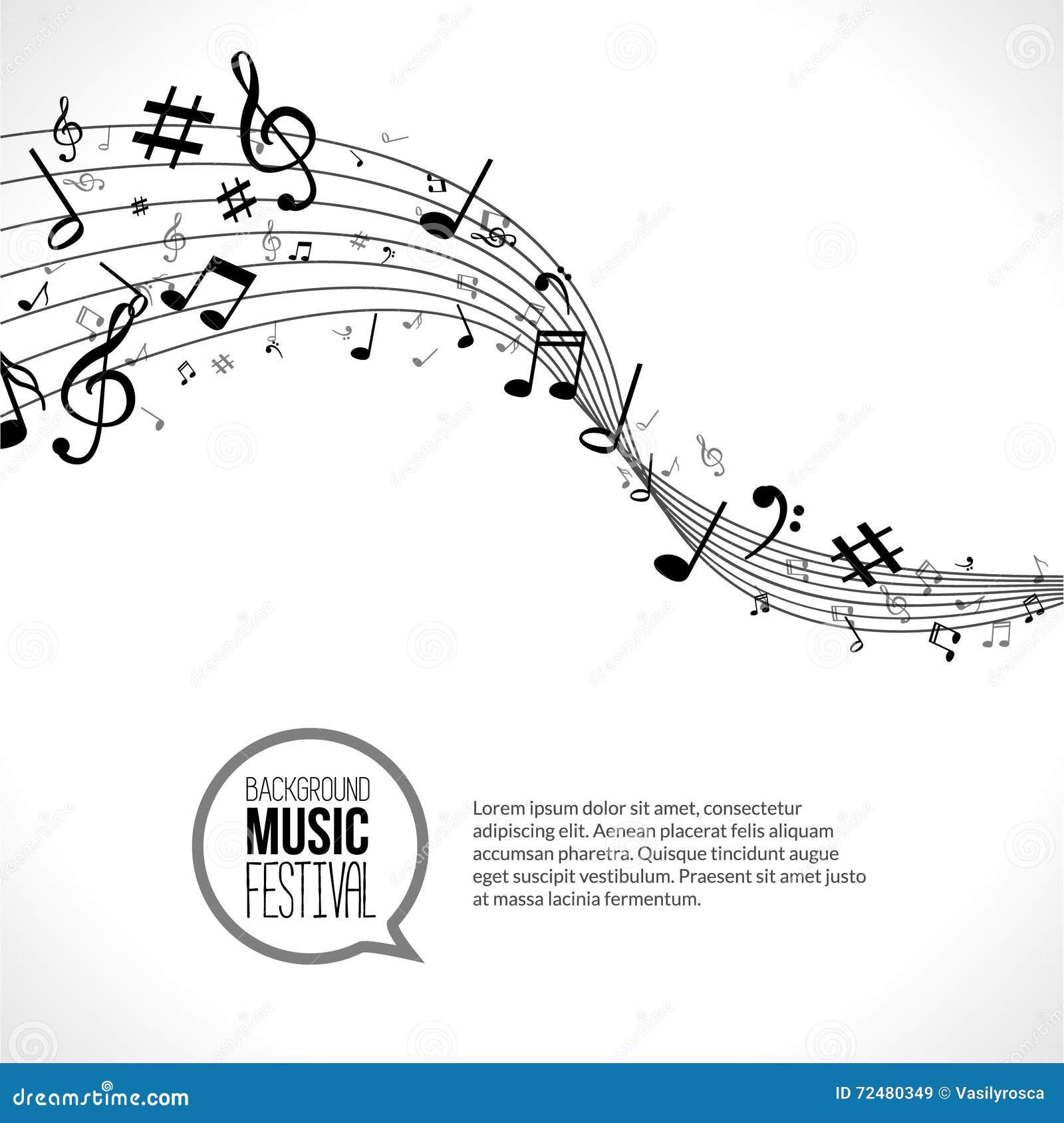 Vector abstracte Muzieknota s en lijnen Op witte achtergrond Muzikaal concept