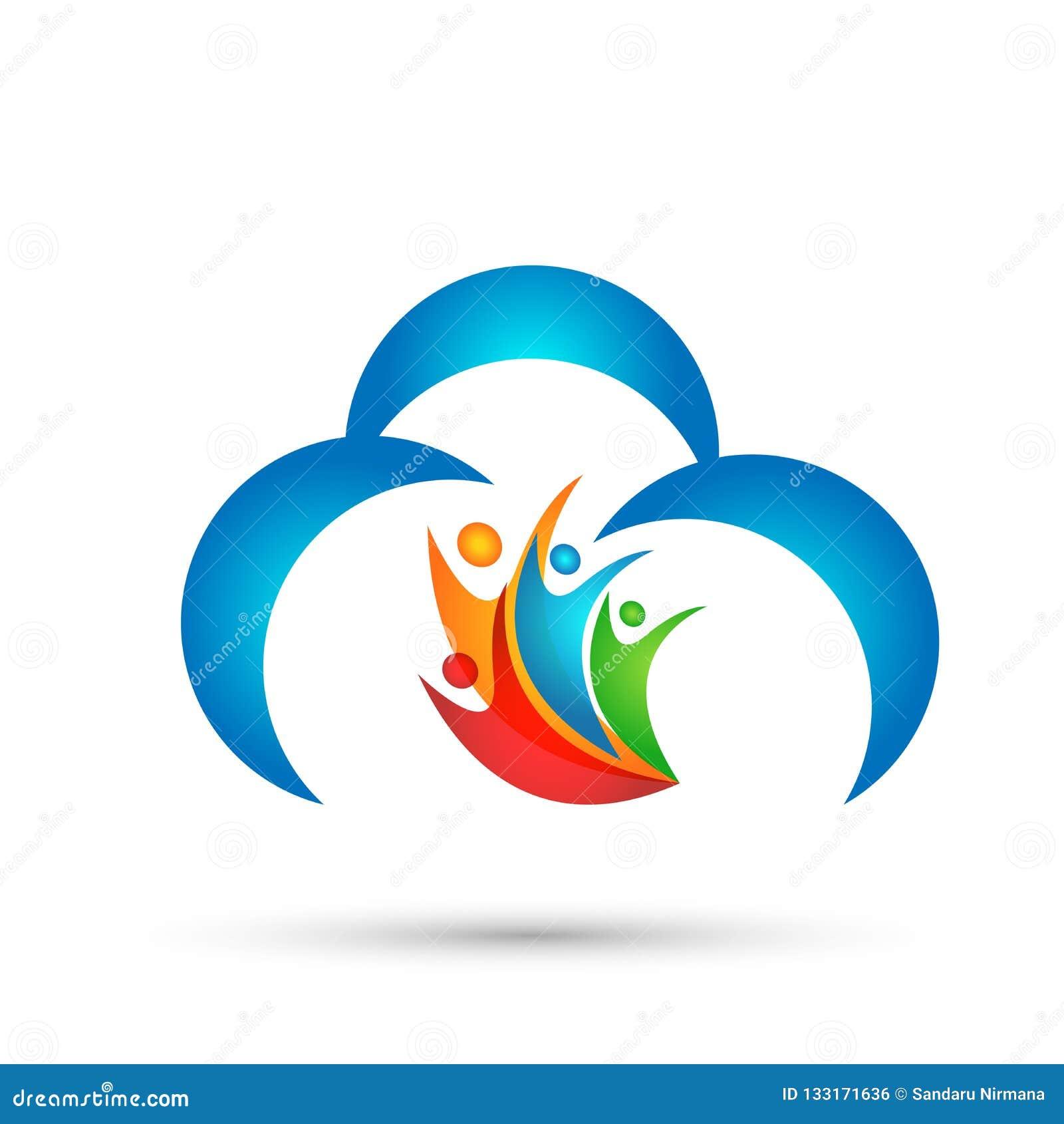 Vector abstracto del diseño del icono del símbolo del concepto de la celebración de la salud de la unión del trabajo del equipo d