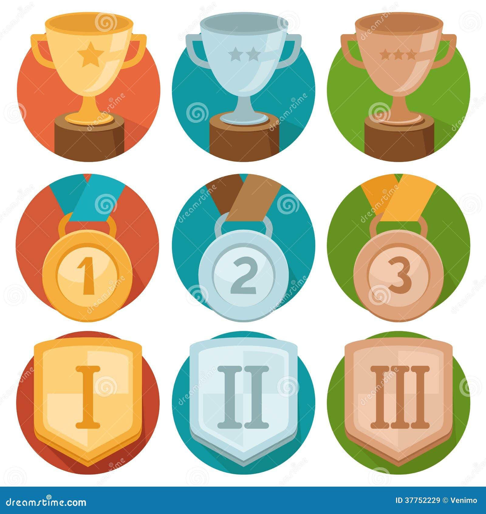 Vector Achievement Badges Gold Silver Bronze Stock Vector Image 37752229