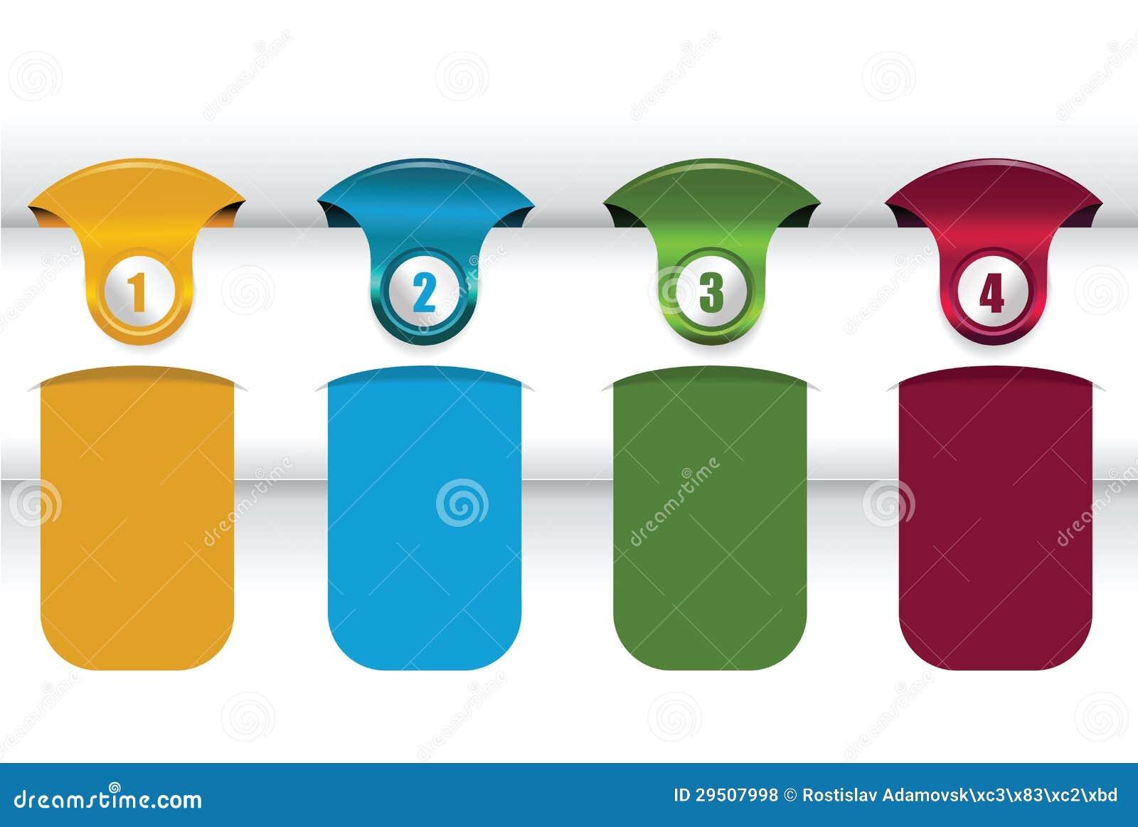 Vector achtergrond met vier kleurenetiketten