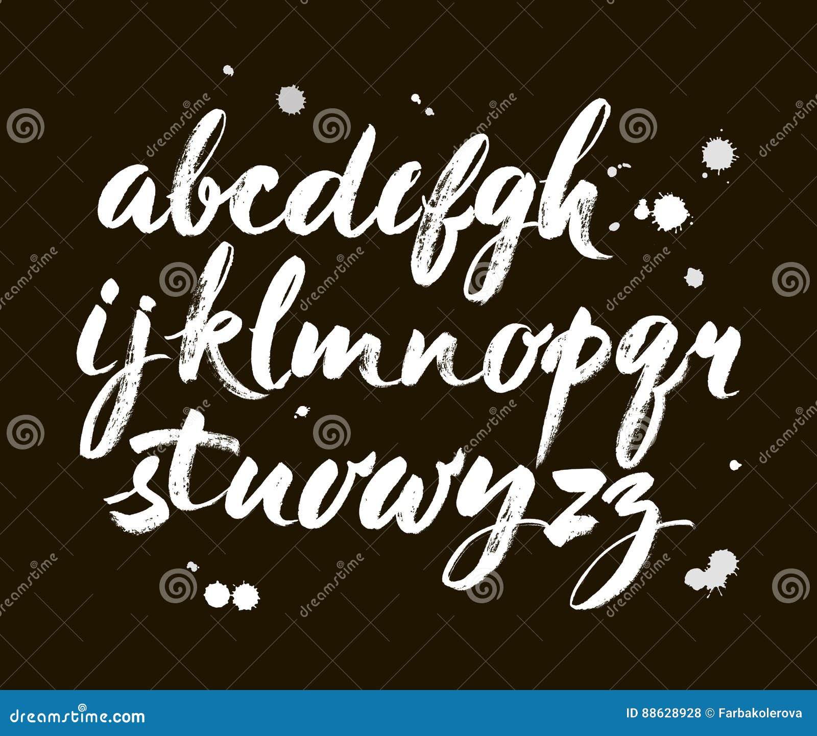 Vector Acrylic Brush Style Hand Drawn Alphabet Font Abc