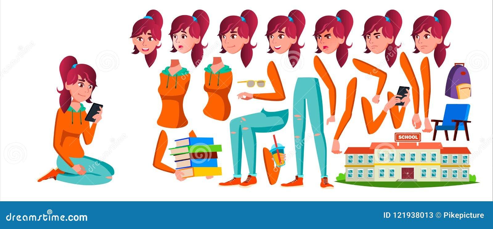 Vector adolescente de la muchacha Sistema de la creación de la animación Emociones de la cara, gestos Caucásico, positivo animado