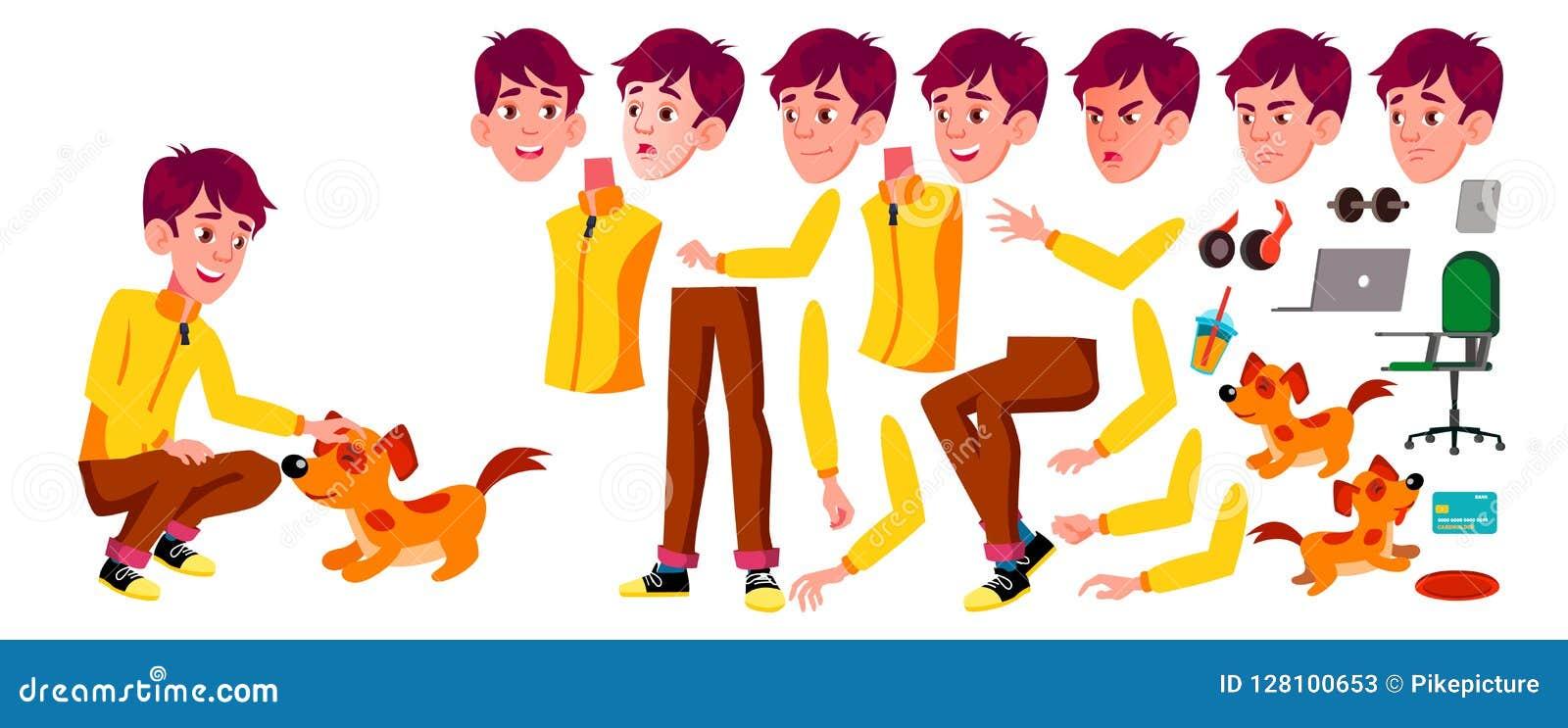Vector adolescente del muchacho Sistema de la creación de la animación Emociones de la cara, gestos Active, expresión animado Par