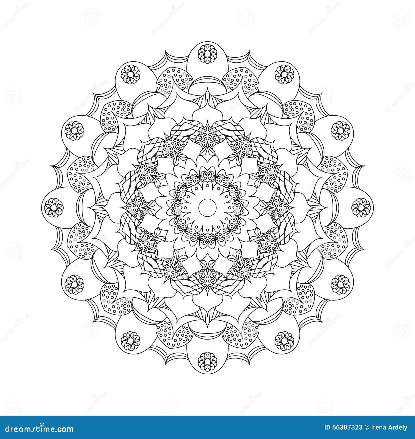 Vector Adult Coloring Book Circular Pattern Mandala Flower Black And