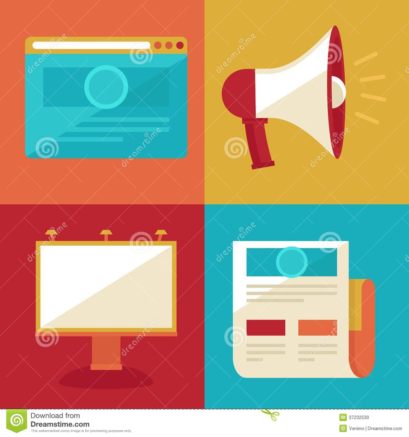 Vector Advertising And Promotion Flat Icons Stock Photo ...