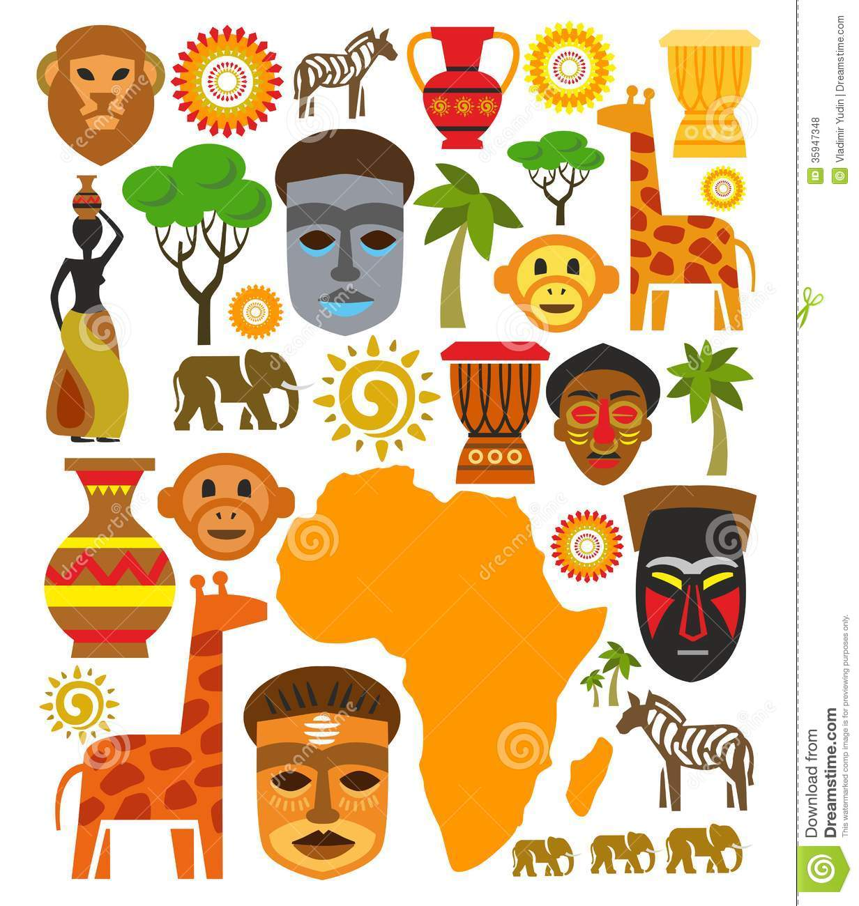 Vector Africa Icon Set Royalty Free Stock Photos Image