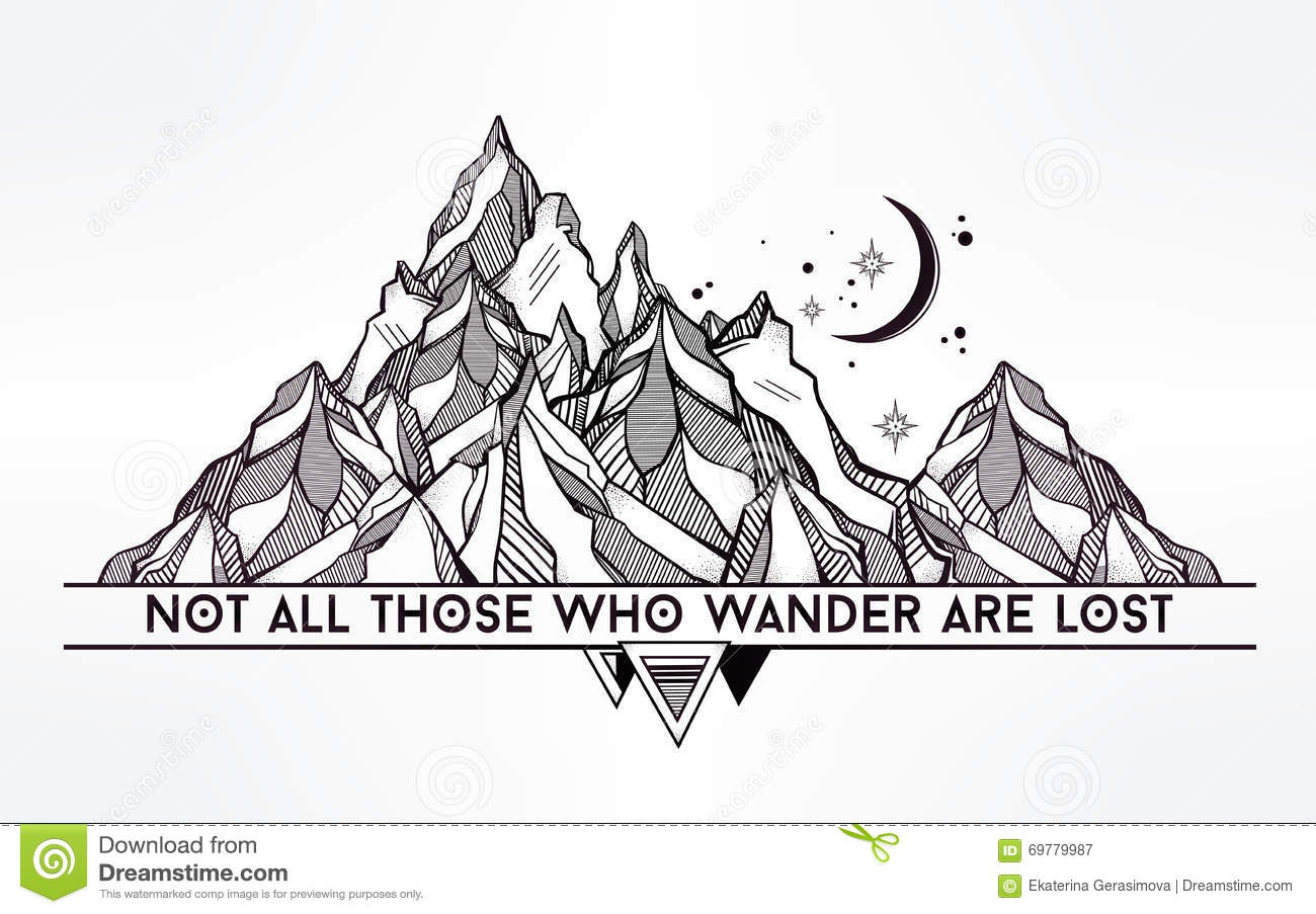 Vector Ageometric Mountain With Typographic Quote Stock Image 69779987