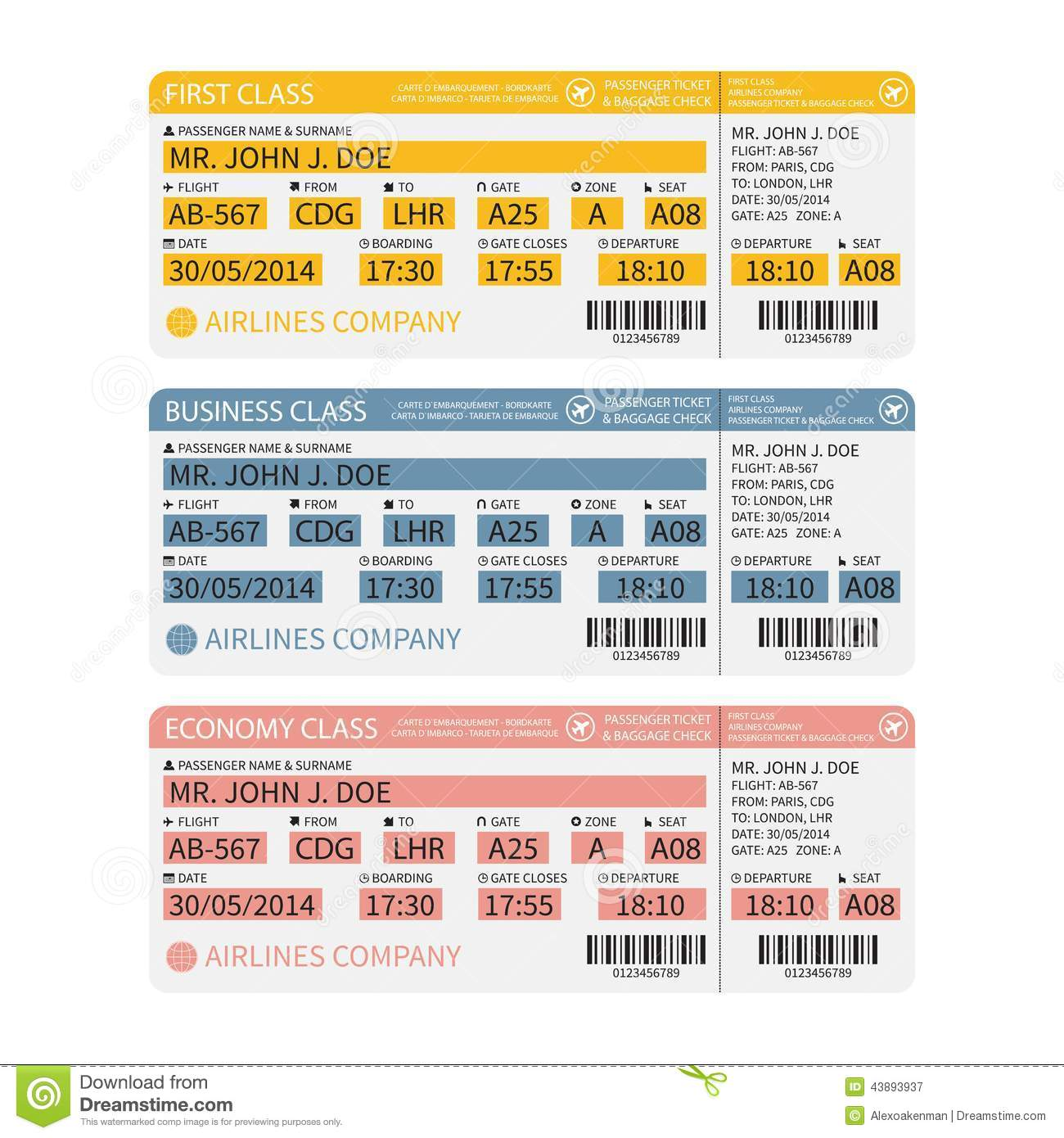 Vector Airline Passenger And Baggage Boarding Pass Tickets With
