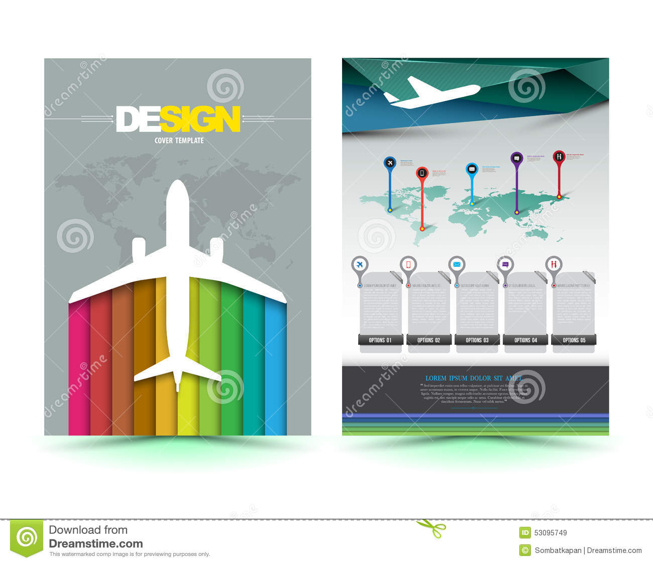Vector Airplane Brochure Template Design Stock Illustration - Brochures template