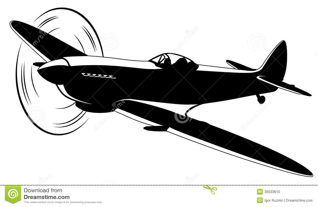 Vector silhouette of the old fighter plane Cessna Airplane Silhouette