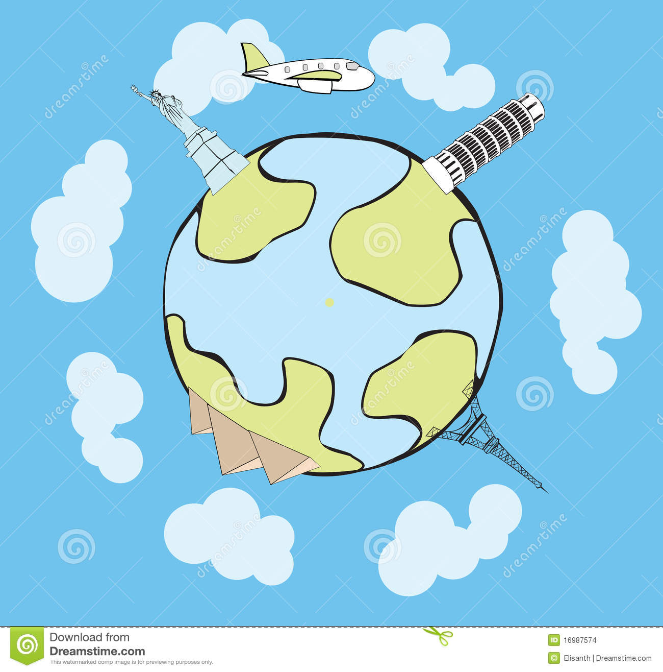 Download Vector Airplane Traveling Around The Globe Stock