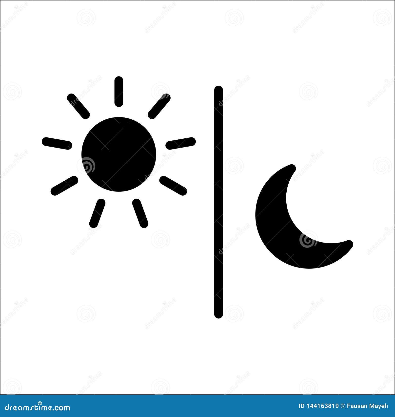 Vector aislado ejemplo del negro del icono de la luna de Sun