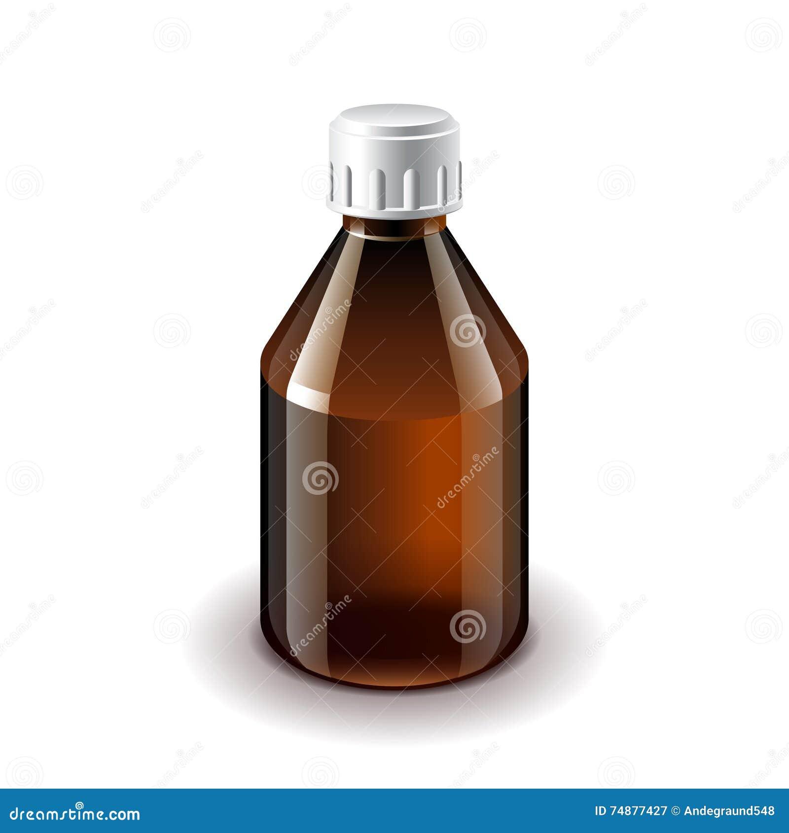 Vector aislado oscuro médico de la botella de cristal