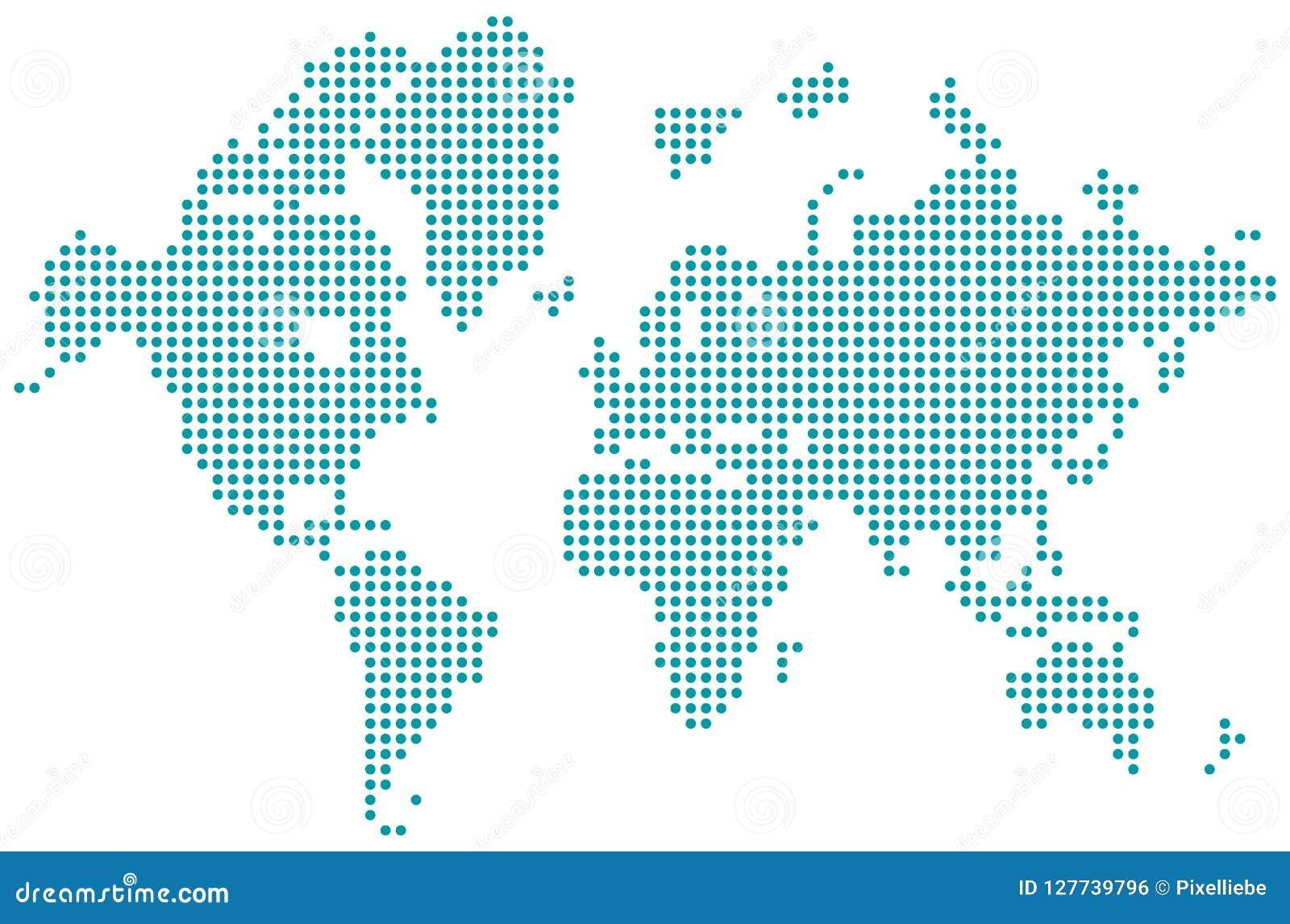 Vector aislado punteado mapa del mundo