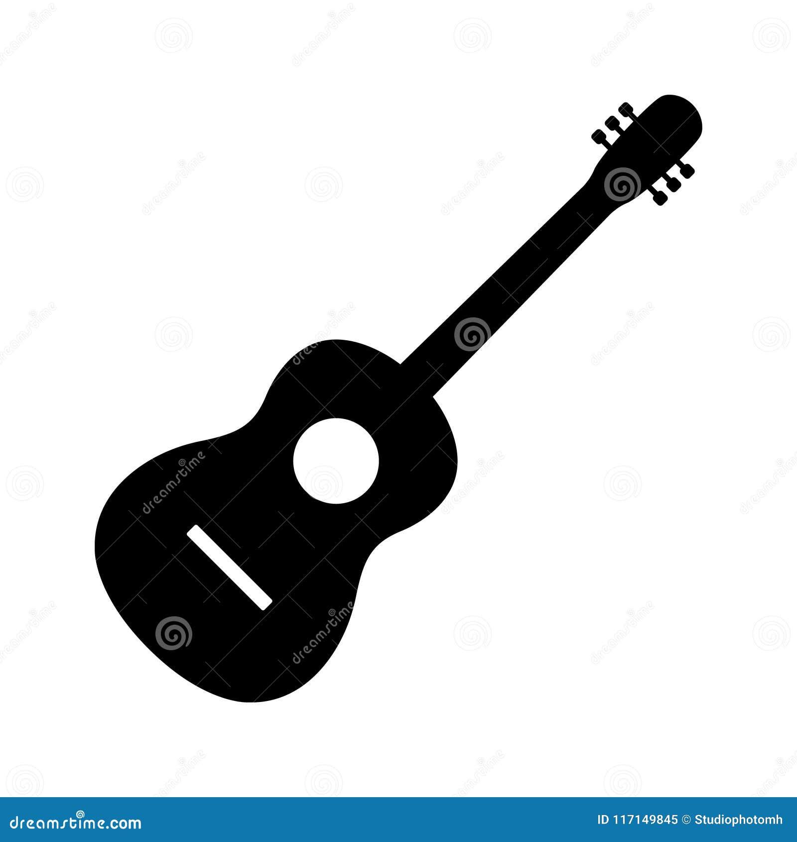 Vector, Akoestisch muzikaal die het instrumententeken van het gitaarpictogram op witte achtergrond wordt geïsoleerd In Vlakke sti
