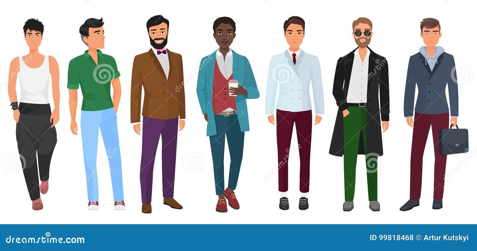 Vector al hombre confiado de la moda en la ropa casual aislada en el fondo  blanco. Download preview 51cf043acf1