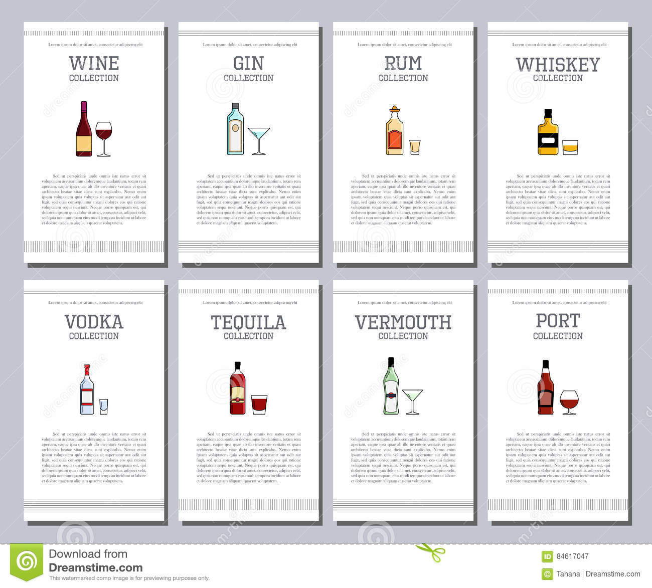 Vector Alcohol List With Icons For Bar Menu. Champagne Liquor ...