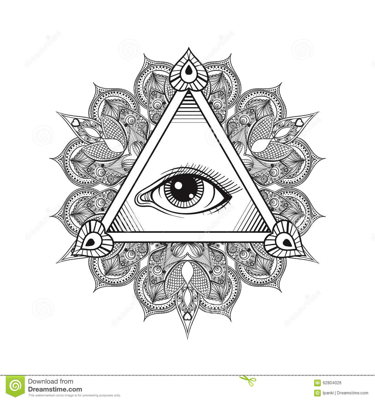 203ed460be44d Vector All seeing eye pyramid symbol. Tattoo design. Vintage hand drawn  freedom, spiritual, occultism and mason sign in doodle style.