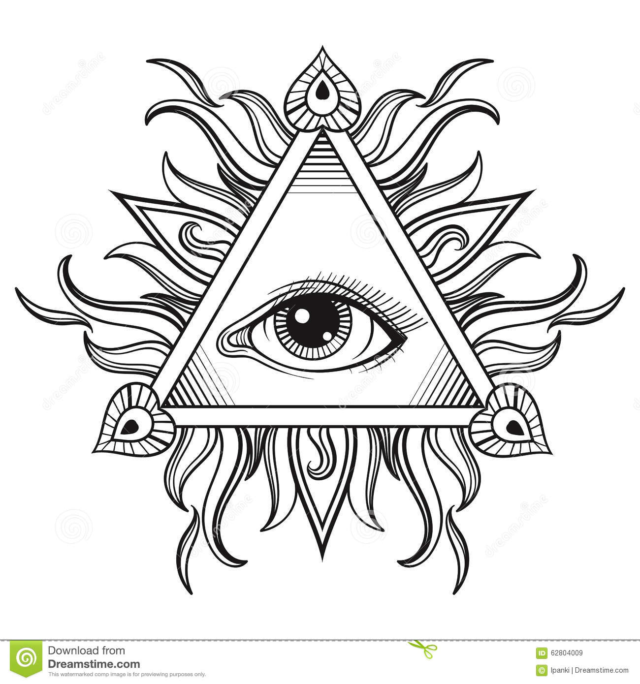 all seeing eye engraving tattoo style cartoon vector 64041415. Black Bedroom Furniture Sets. Home Design Ideas