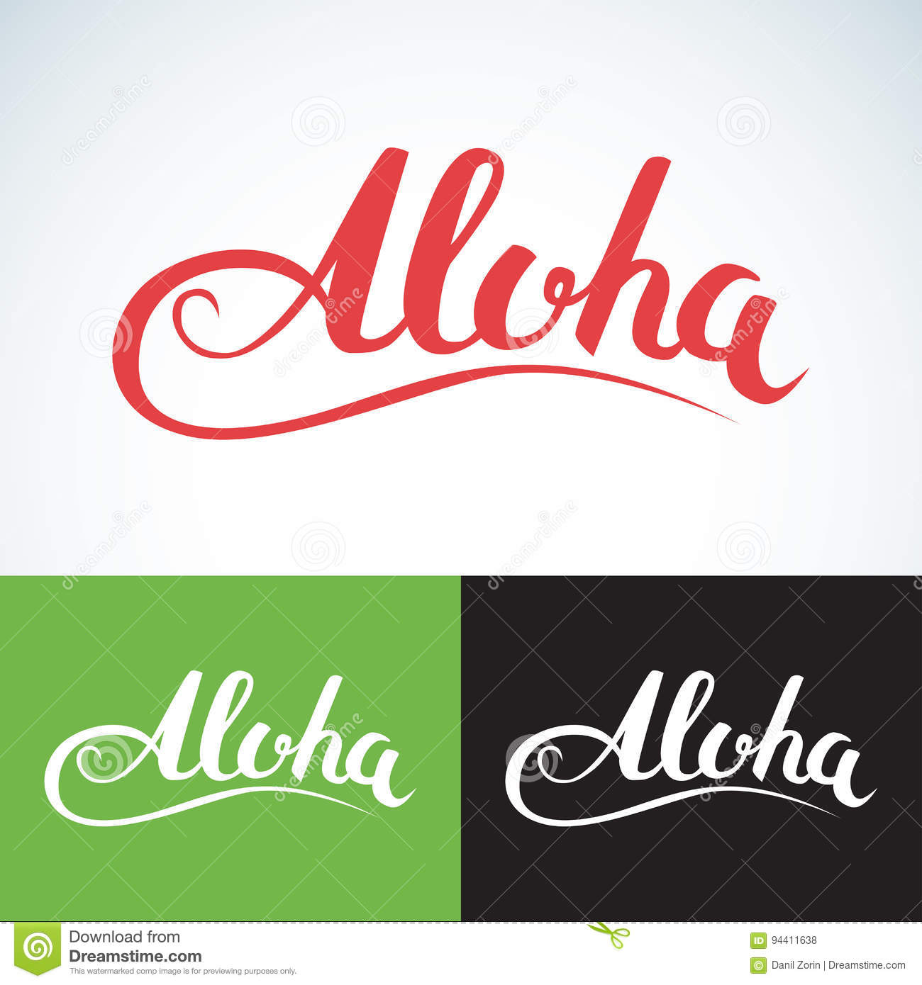 Vector Aloha Word, Vintage Style  Summer Apparel Print Design, T
