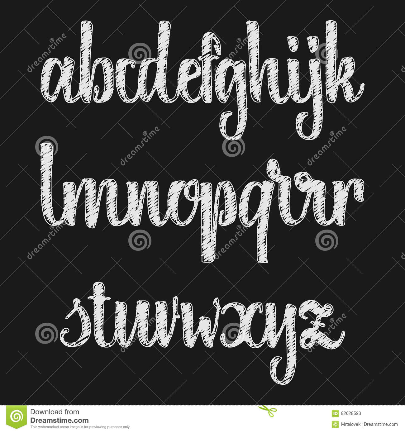 Vector Alphabet Calligraphic Font Chalk Effect Unique Custom