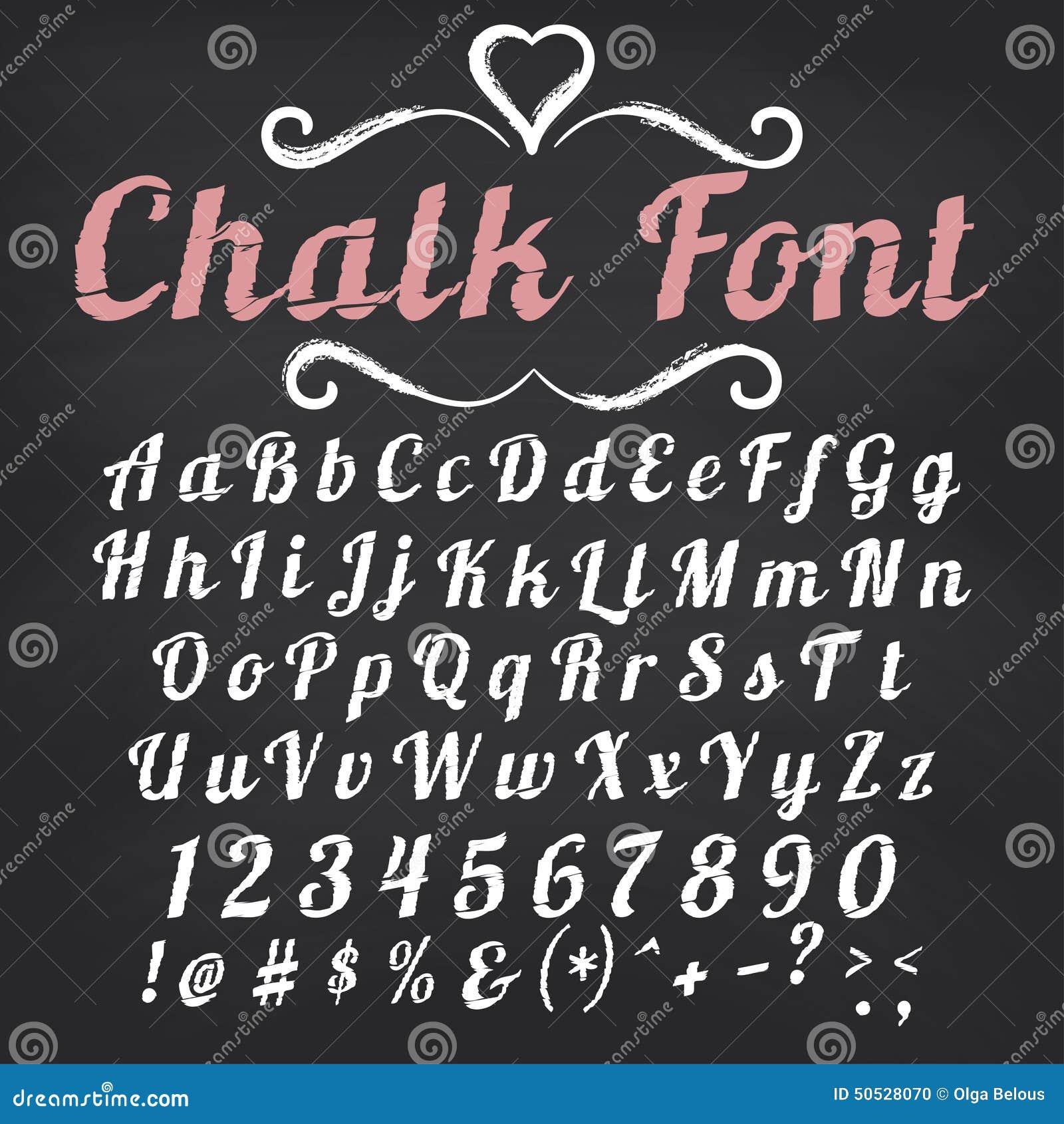 Vector Alphabet. Chalk Font On Blackboard Stock Vector - Image ...