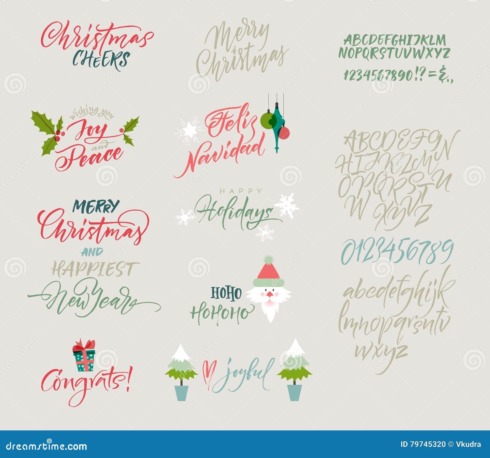 Vector Alphabet Christmas And New Year Congrats Season Greetings