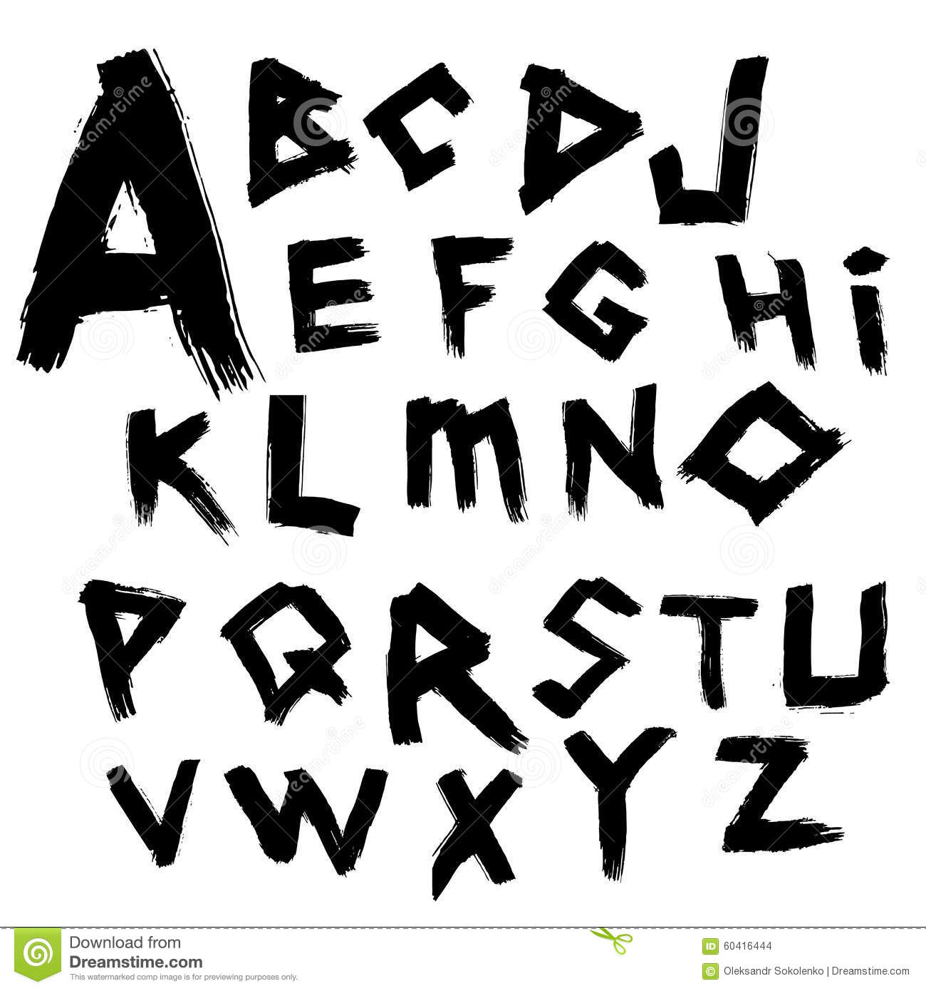 Vector Alphabet Font Written By Wide Brush In The Ancient Style