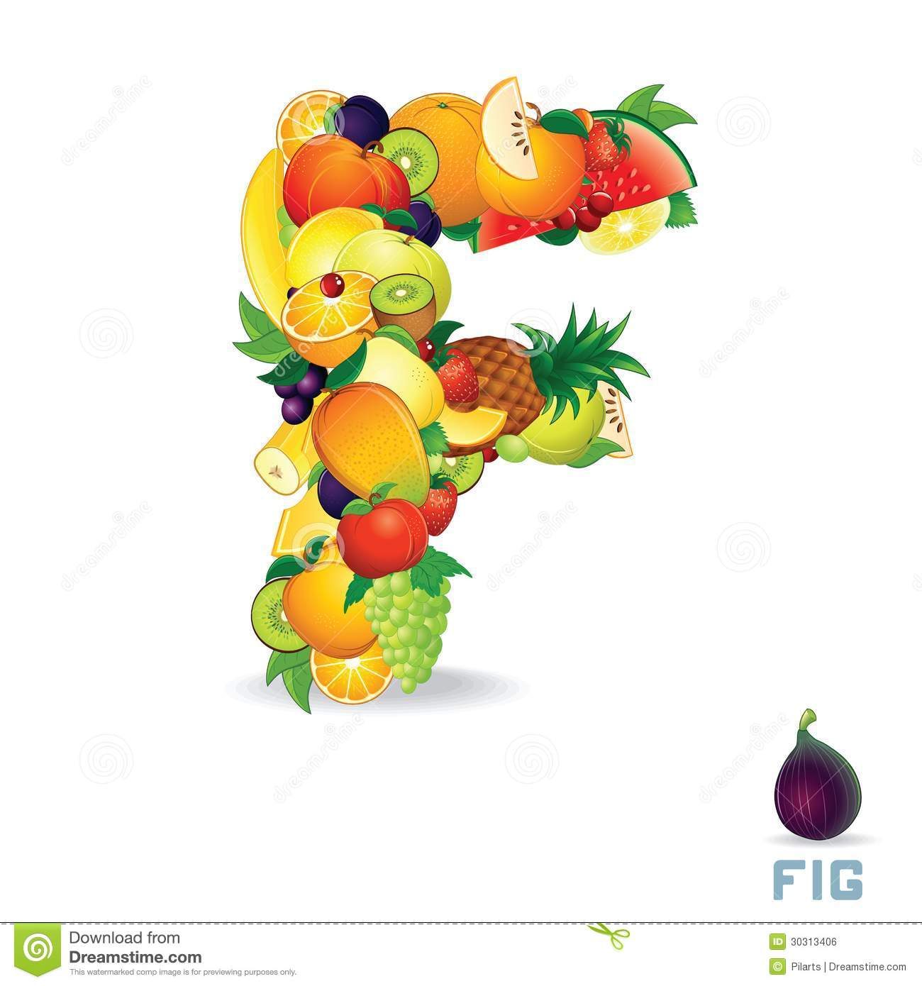 Vector Alphabet From Fruit. Letter F Royalty Free Stock