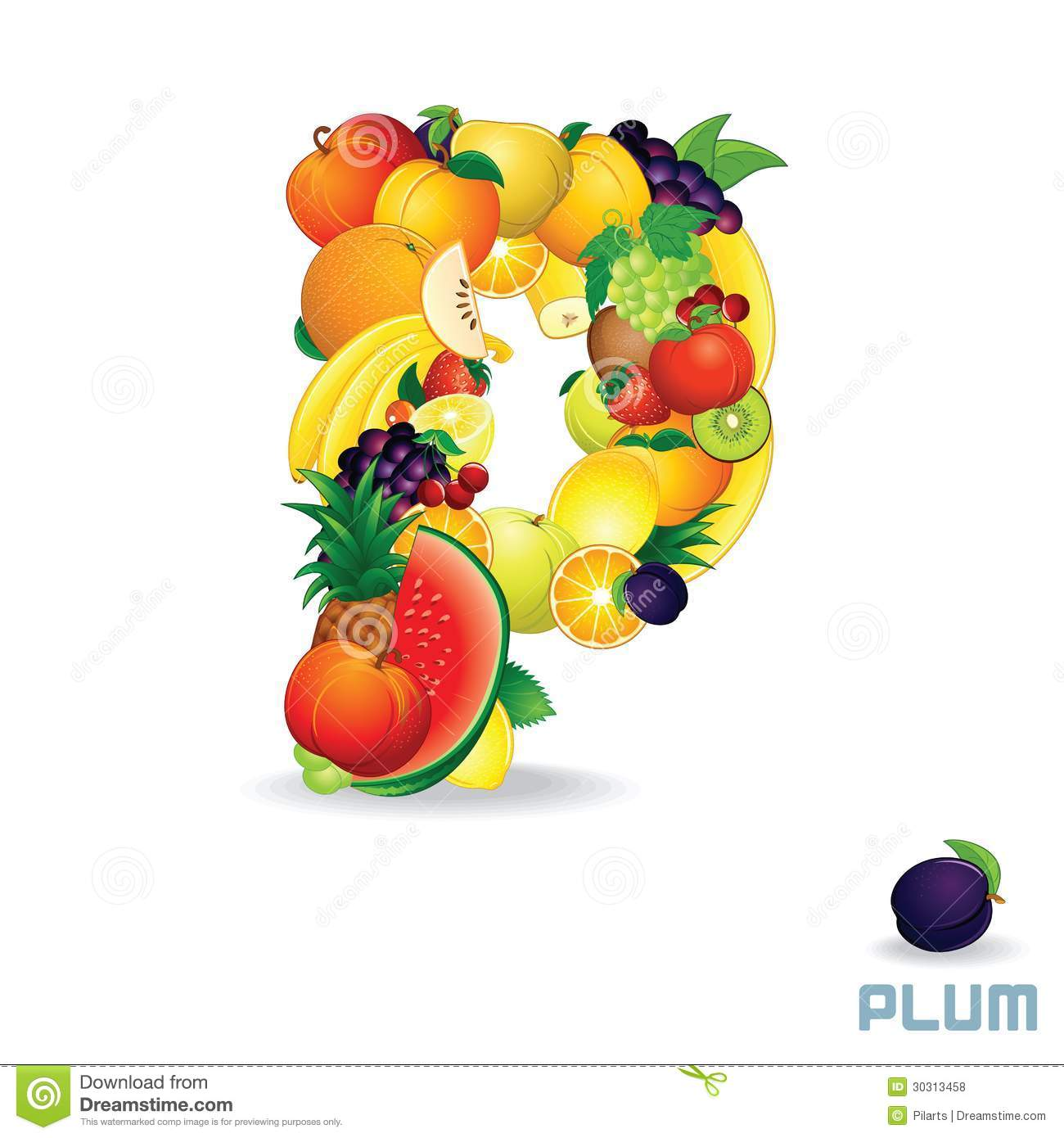 Vector Alphabet From Fruit. Letter P Royalty Free Stock