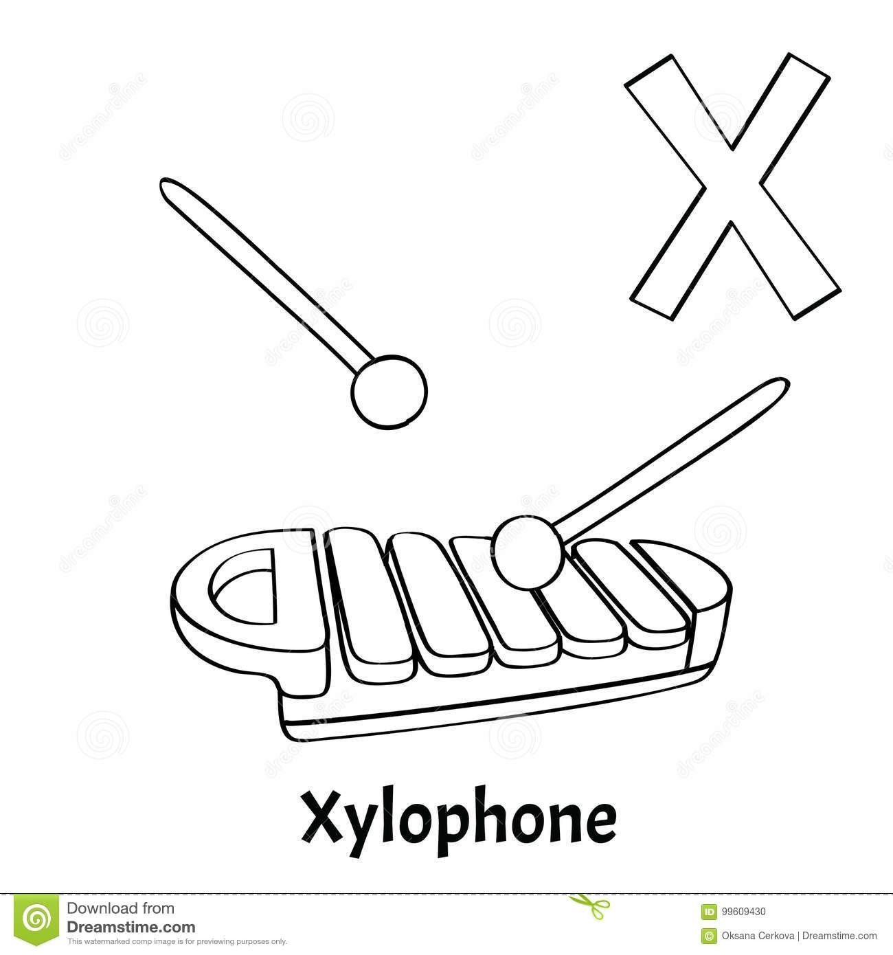 Vector Alphabet Letter X Coloring Page Xylophone Stock