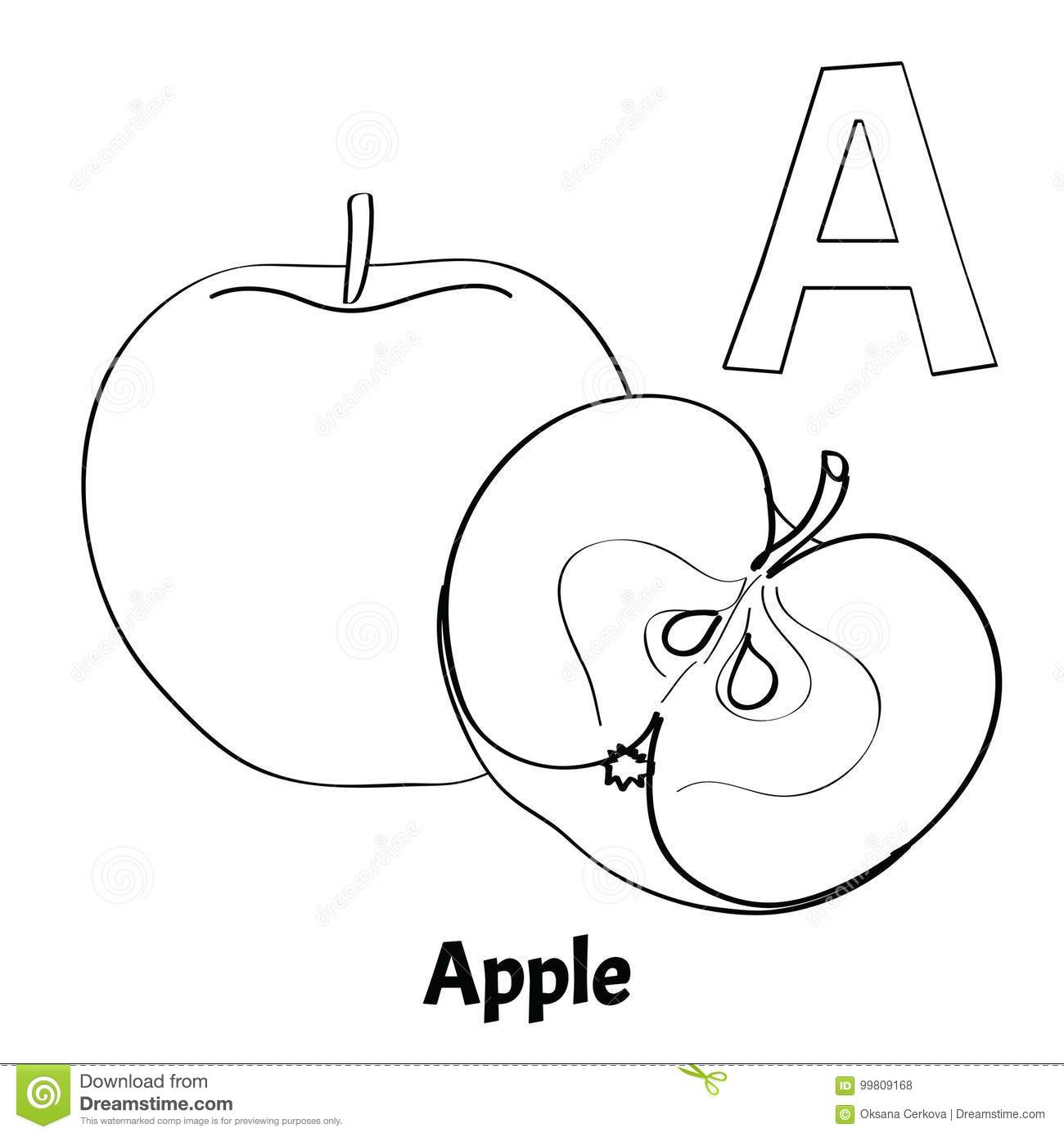 Vector Alphabet Letter A, Coloring Page. Apple Stock Vector ...