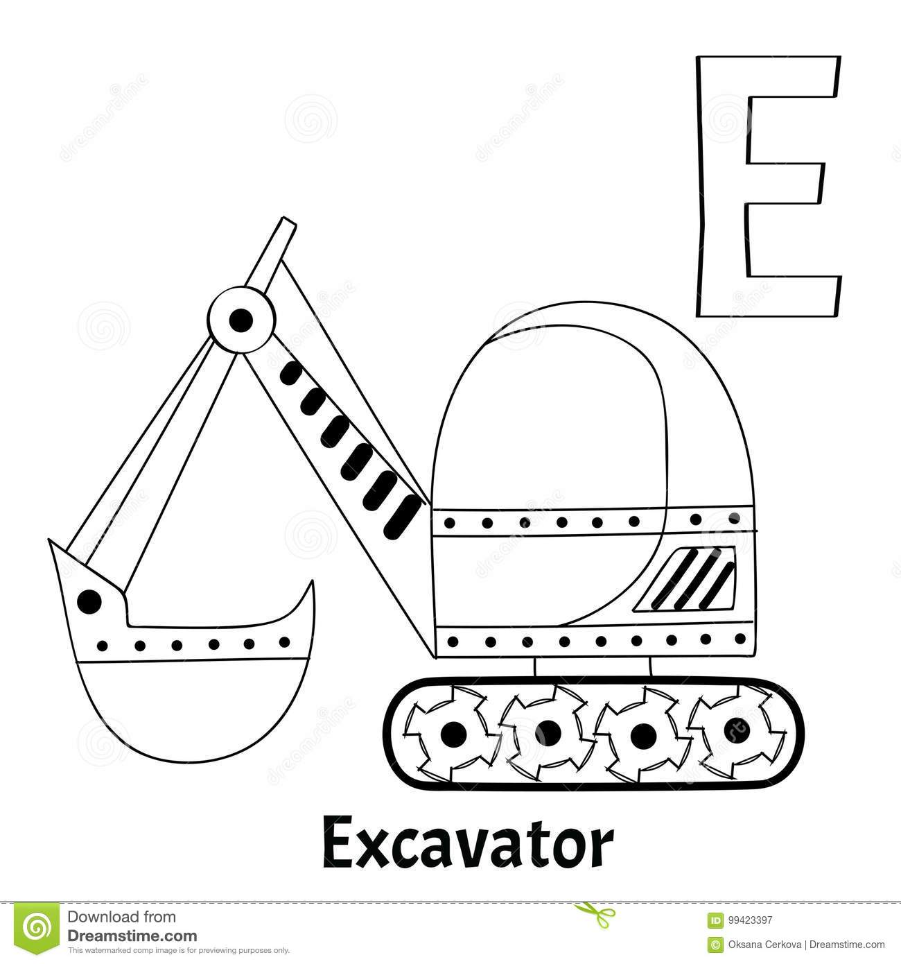 Vector Alphabet Letter E Coloring Page Excavator Stock Vector