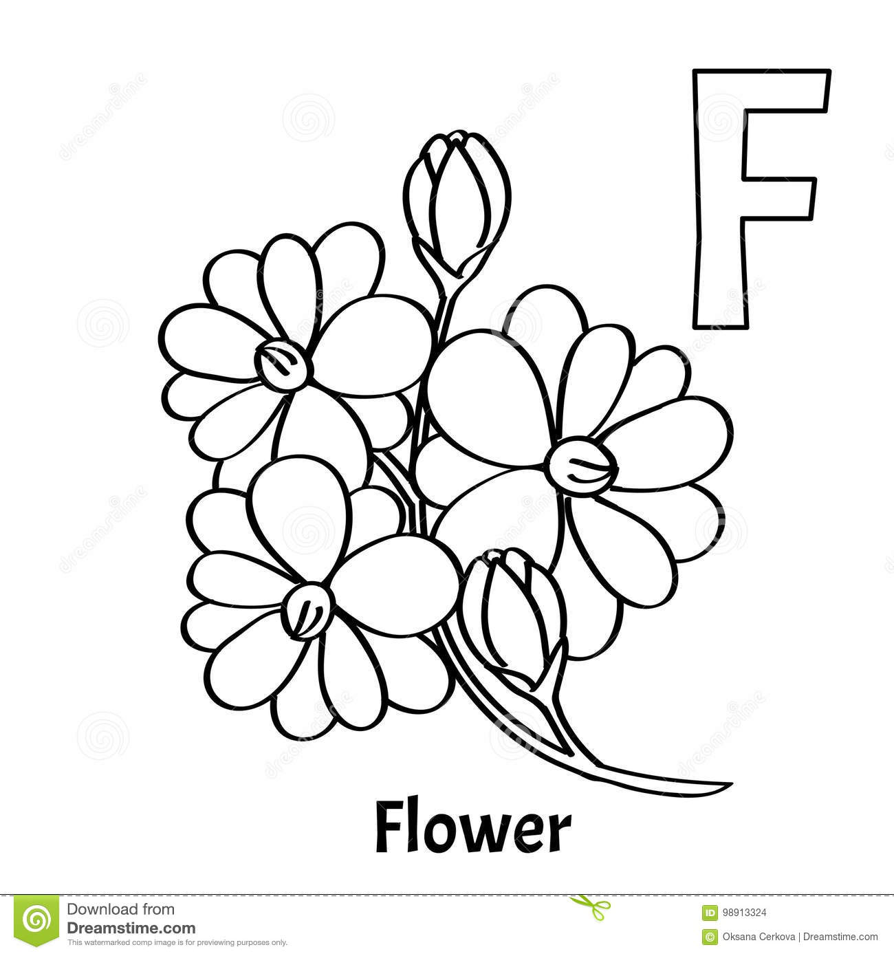 Vector Alphabet Letter F, Coloring Page. Flower Stock Vector ...