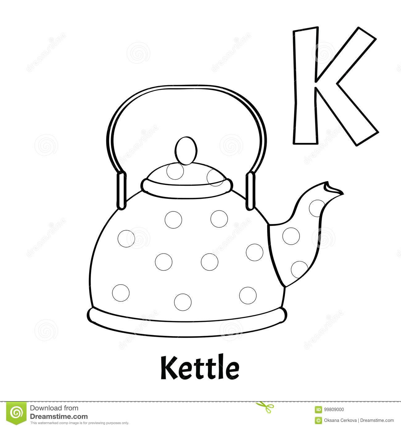 Vector Alphabet Letter K, Coloring Page. Kettle Stock Vector ...