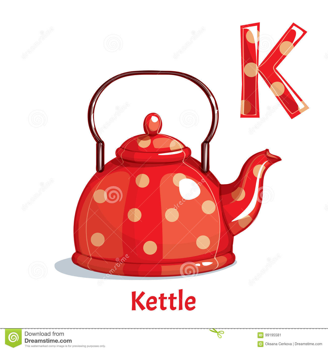 Vector alphabet letter K. Kettle