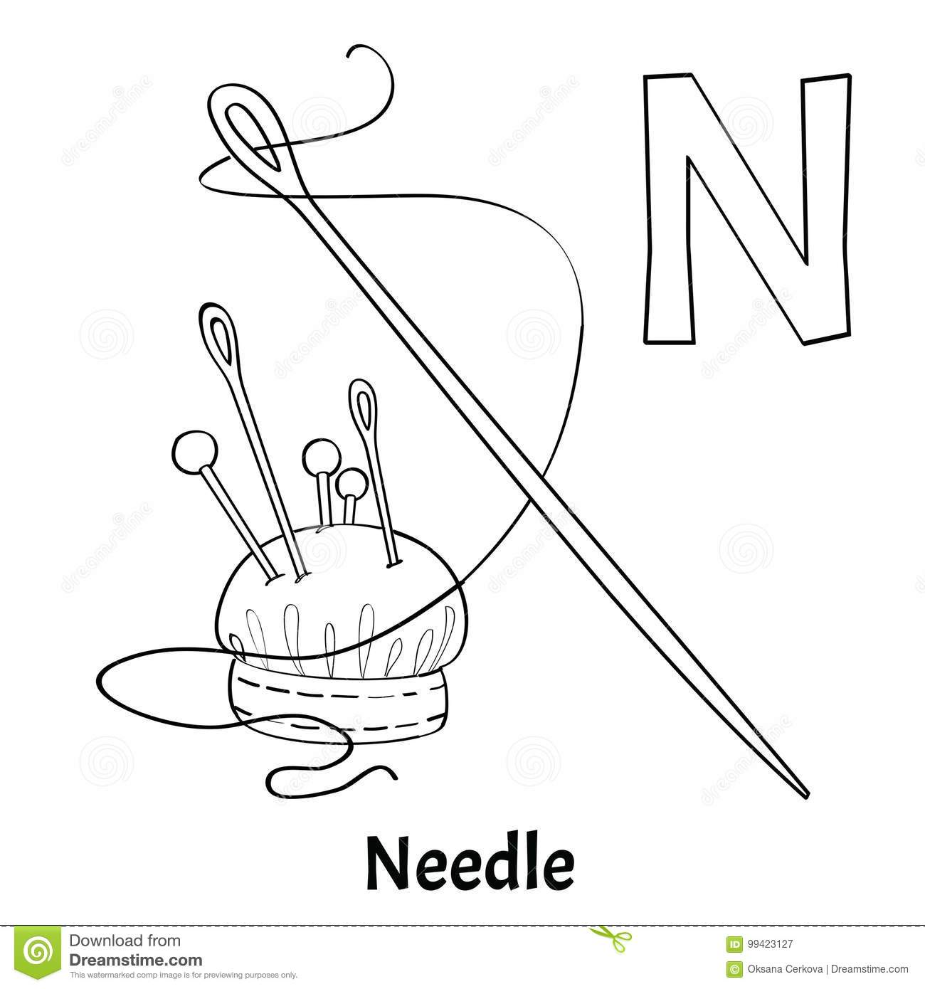 Vector Alphabet Letter N, Coloring Page. Needle Stock Vector ...