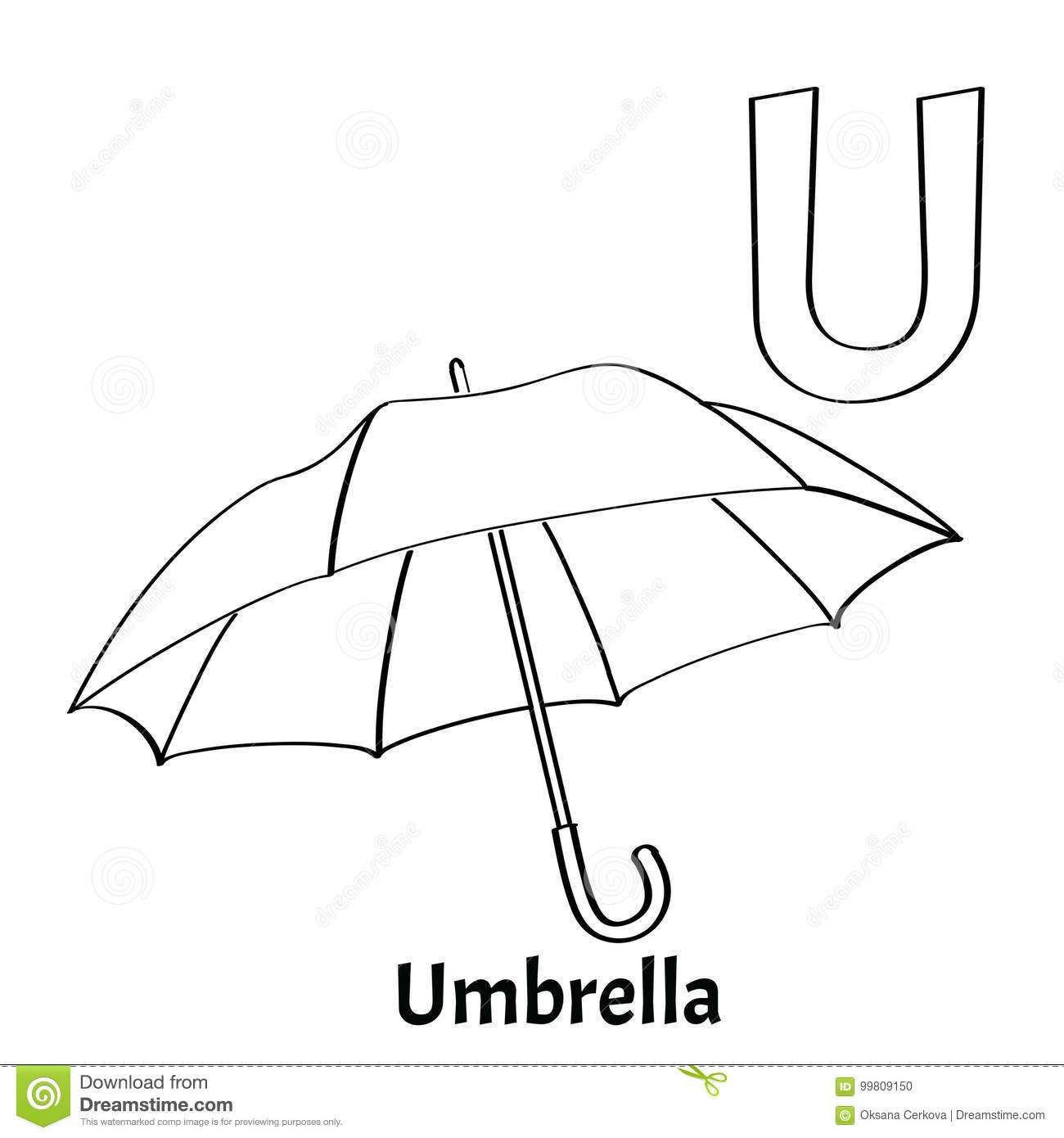 Vector Alphabet Letter U, Coloring Page. Umbrella Stock Vector ...